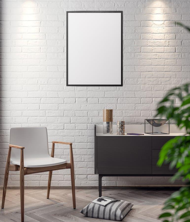 Плакат в интерьере, модель-макета иллюстрация 3D современного дизайна иллюстрация вектора
