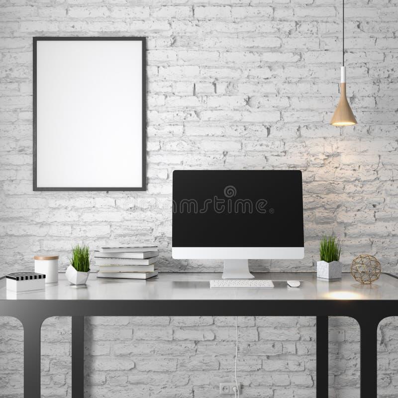 Плакат в интерьере, 3D иллюстрация современного дизайна, белая кирпичная стена модель-макета иллюстрация вектора