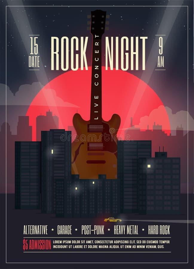 Плакат в реальном маштабе времени ночи утеса концерта, рогулька, шаблон для вашего события, концерт знамени, партия, выставка, фе иллюстрация штока