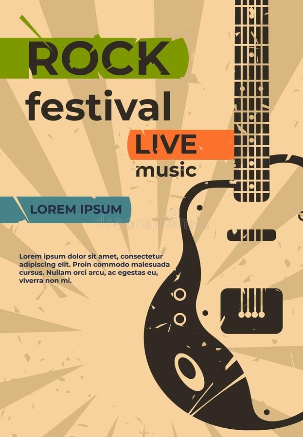 Плакат гитары Рок-концерт джаза музыки или летчик партии, шоу фестиваля или карта grunge события ретро Плакат вектора с иллюстрация вектора