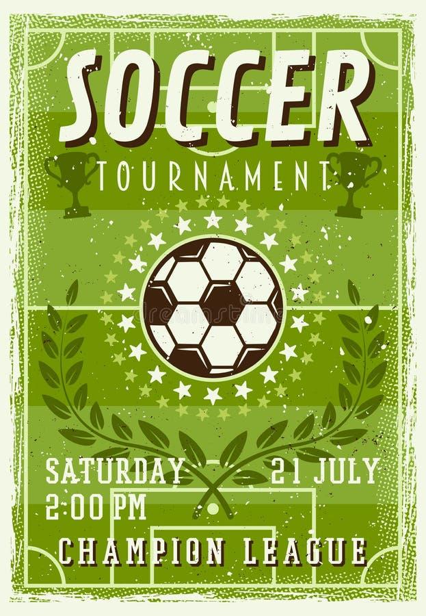 Плакат года сбора винограда приглашения турнира футбола иллюстрация вектора