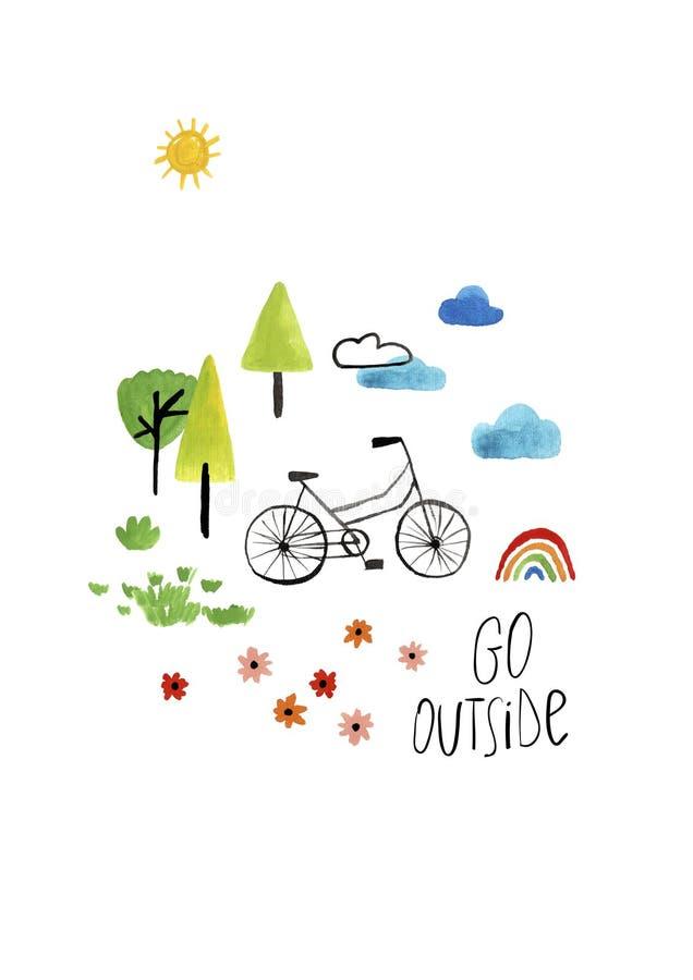 Плакат гуаши детей с велосипедом стоковые изображения rf