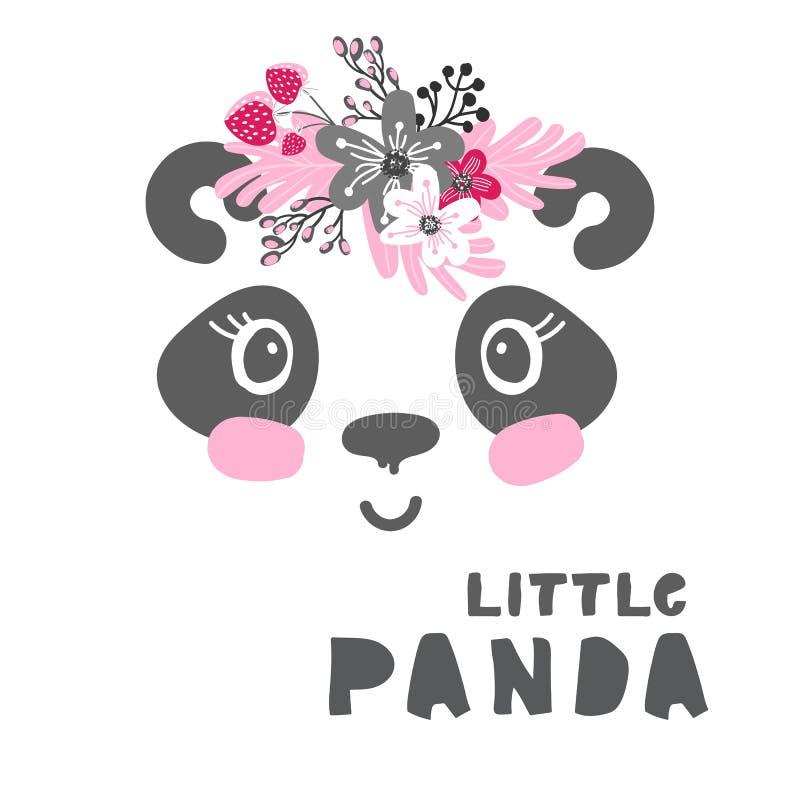 Плакат девушки маленькой панды иллюстрация вектора