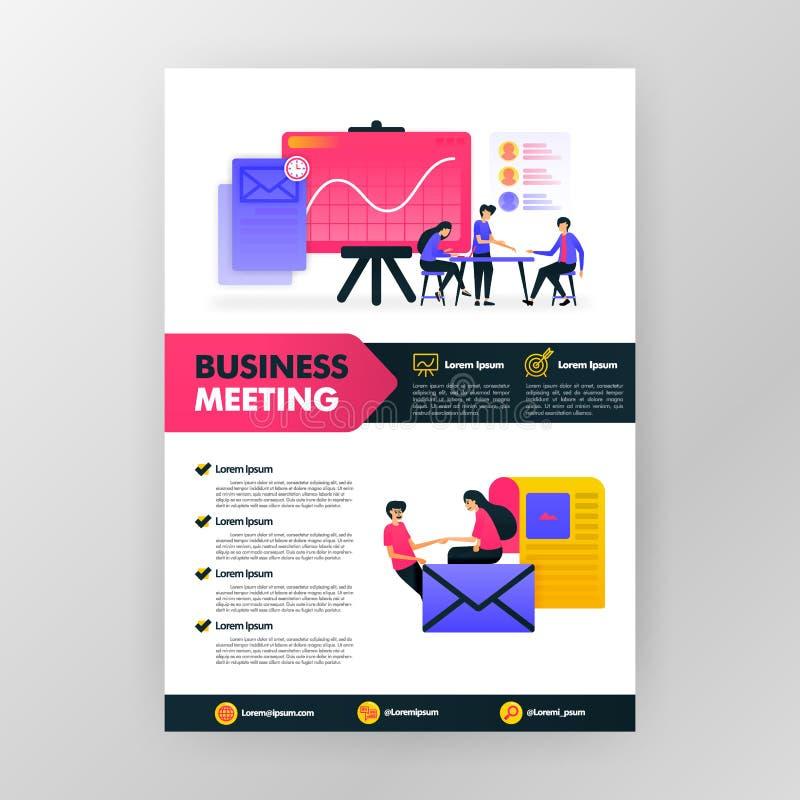 Плакат деловой встречи с плоской иллюстрацией мультфильма космос плана дизайна обложки журнала брошюры памфлета дела flayer для иллюстрация штока