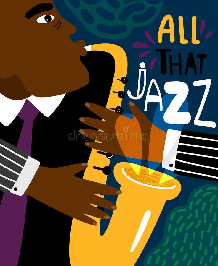 Плакат джаза Бить современный стиль плаката музыки саксофона, клуба человека джаза саксофониста летчик африканского современный д иллюстрация вектора