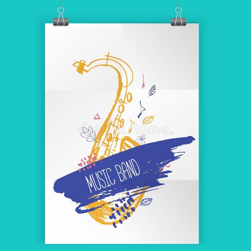 Плакат джазовой музыки Grunge freehand Вручите вычерченную иллюстрацию с ходами щетки для плаката фестиваля и рогульки, концерта иллюстрация штока