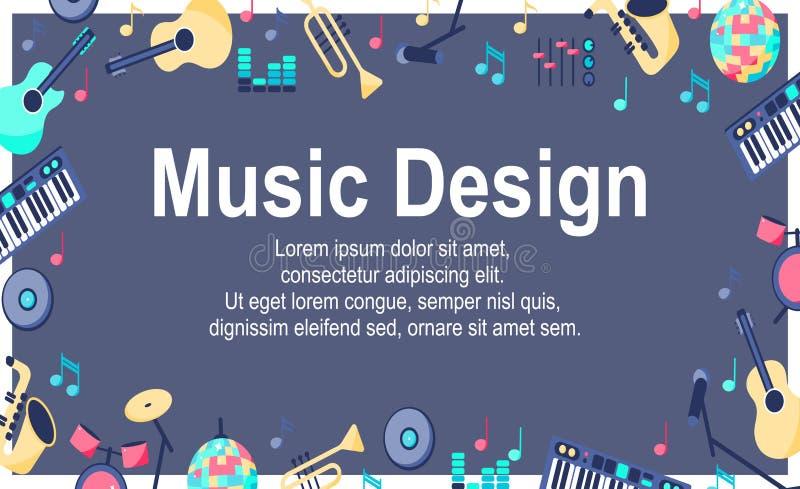 Плакат дизайна музыки с музыкальными инструментами иллюстрация вектора