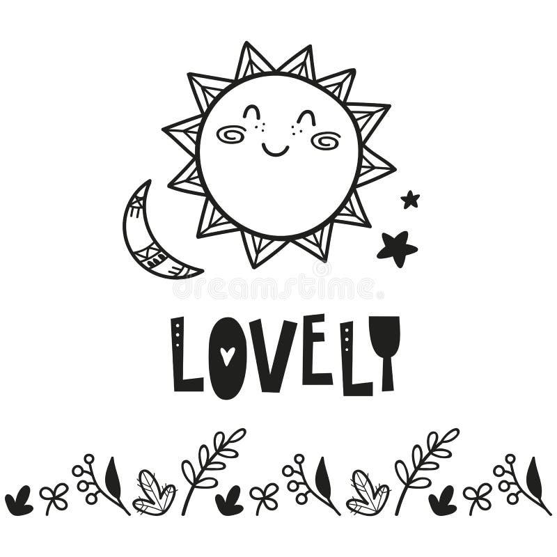 Плакат для комнаты детей, поздравительной открытки, печати на стене, подушки, украшения ягнится интерьер, носка младенца и футбол бесплатная иллюстрация