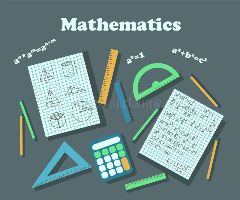 Плакат для того чтобы проиллюстрировать урок математики иллюстрация вектора