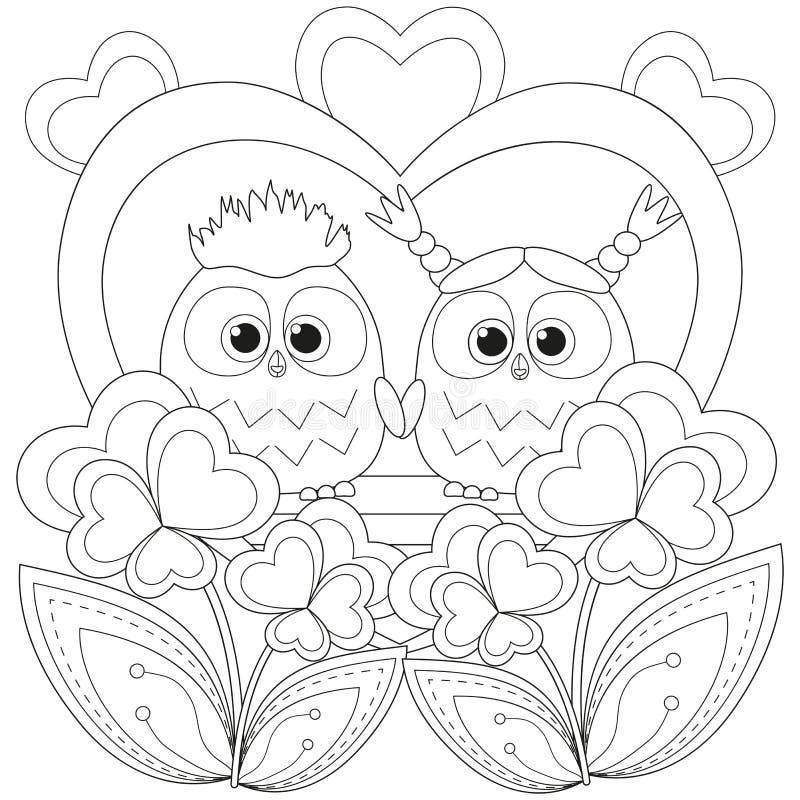 Плакат дня валентинки черно-белый с парой сыча иллюстрация вектора