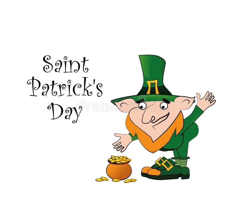 Плакат дня St. Patrick Лепрекон около пня с монетками горшка с золотом иллюстрация вектора