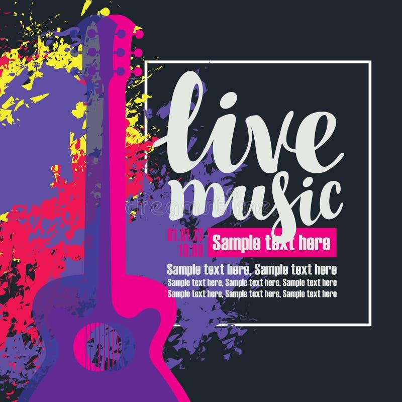 Плакат живой музыки с multicolor акустическими гитарами иллюстрация вектора