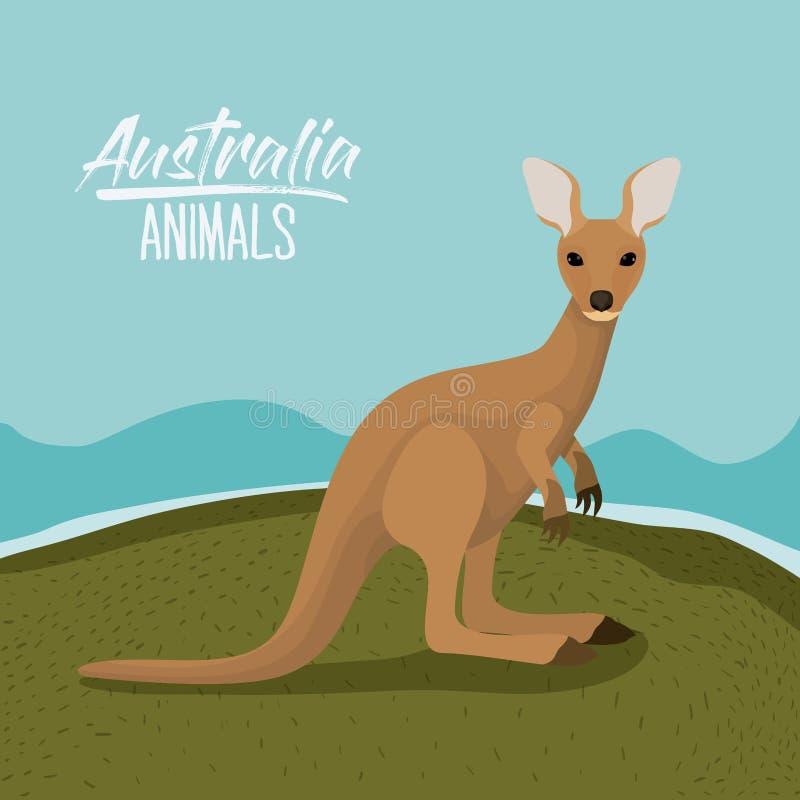 Плакат животных Австралии с сценой кенгуру внешней в красочном силуэте иллюстрация вектора
