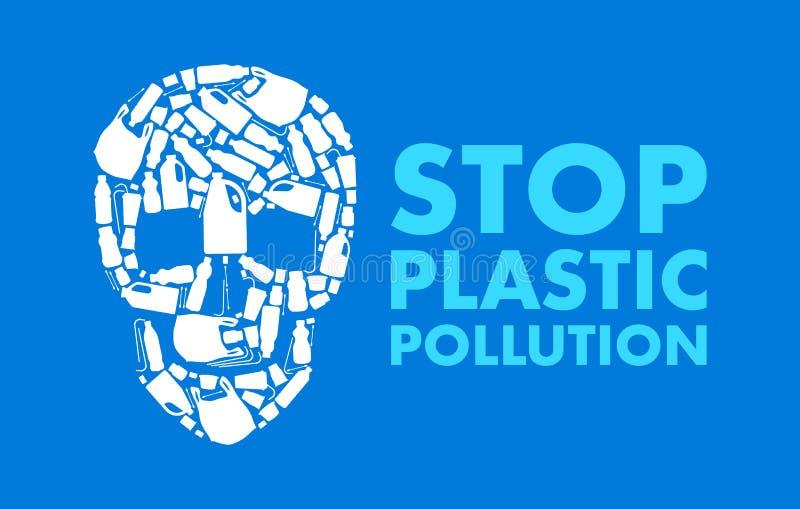 Плакат загрязнения Sto пластиковый с черепом собранным пластиковой погани иллюстрация вектора
