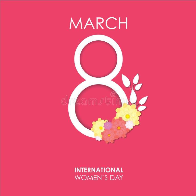 Плакат знамени Международного женского дня с 8-ое марта с цветками Счастливый шаблон вектора Дня матери Eps10 иллюстрация вектора