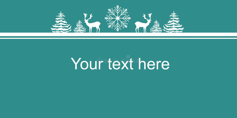 Плакат знамени сети Новых Годов рождества Хлопь снега елей оленей силуэтов белизны Космос экземпляра границы для текста Объявлени иллюстрация штока