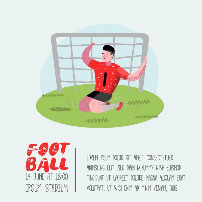 Плакат игрока шаржа футбола, плакат Футболист в форме Знамя характера спортсмена Спортсмен спорта играя футбол бесплатная иллюстрация