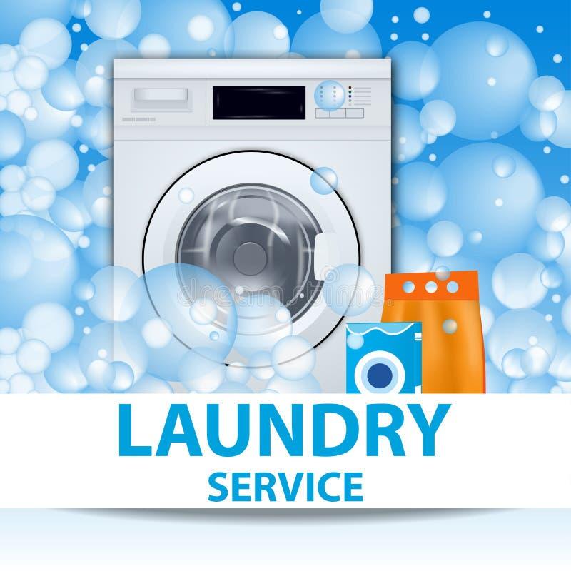 Плакат или знамя прачечной Предпосылка стиральной машины передняя нагружая с пузырями мыла реалистическая иллюстрация 3d Фронт иллюстрация штока
