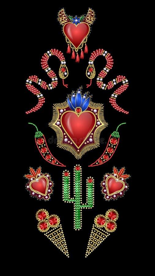 Плакат или футболка дизайна с традиционными мексиканскими сердцами с огнем и цветками, вышитыми sequins, шариками и жемчугами иллюстрация штока