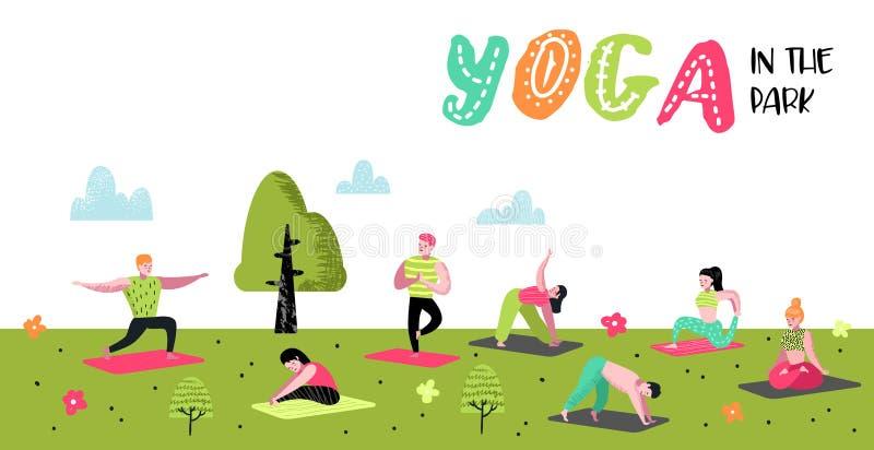 Плакат йоги людей шаржа практикуя, знамя Протягивать человека и женщины, тренируя Разминка фитнеса, здоровый образ жизни бесплатная иллюстрация