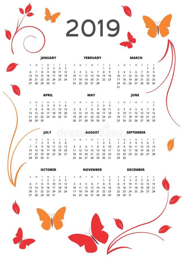Плакат карточки 2019 календарей элегантный и милый иллюстрация вектора