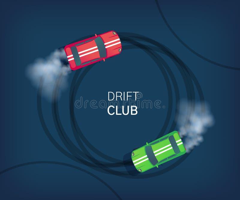 Плакат клуба смещения или знамя сети Спортивная машина перемещаясь на трассу Конкуренция Motorsport Вектор стиля взгляда сверху п бесплатная иллюстрация