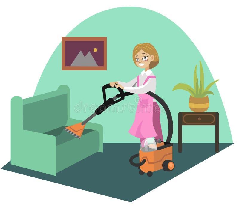 Плакат ковра чистки для дизайна тем домашнего хозяйства иллюстрация вектора