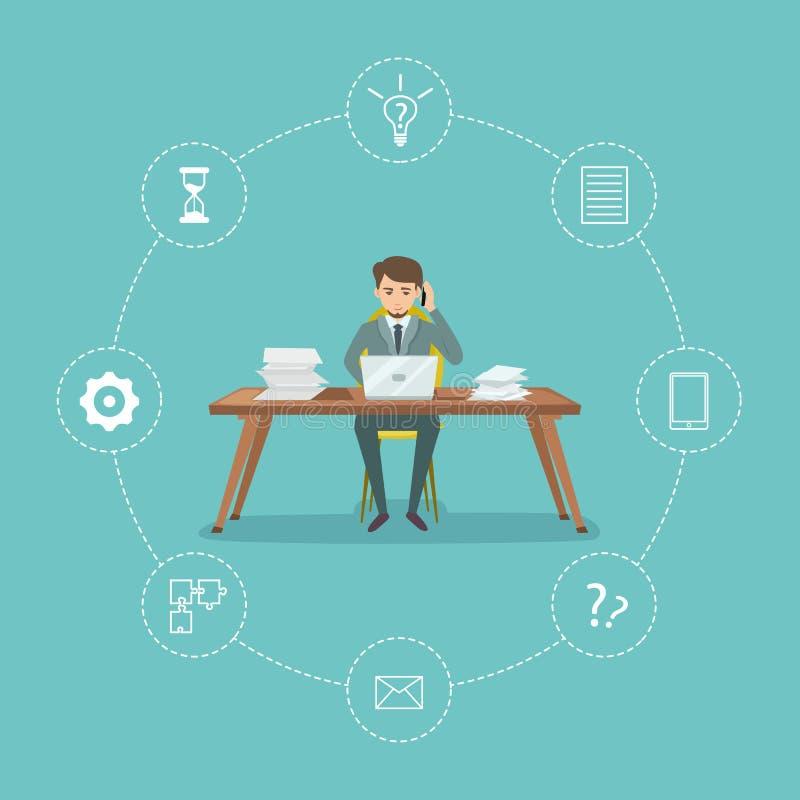 Плакат контроля времени с бизнесменом иллюстрация вектора
