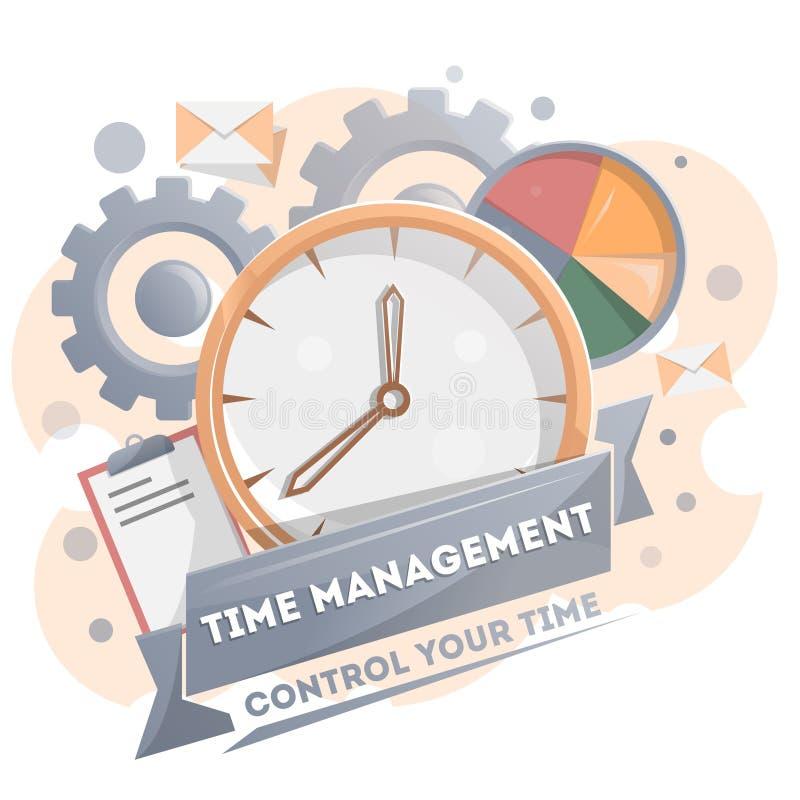 Плакат контроля времени с часами бесплатная иллюстрация