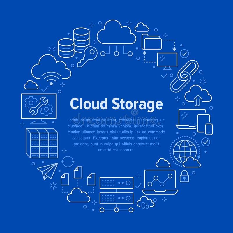 Плакат круга хранения данных облака с линией значками Предпосылка базы данных, информация, центр сервера, глобальная вычислительн иллюстрация вектора