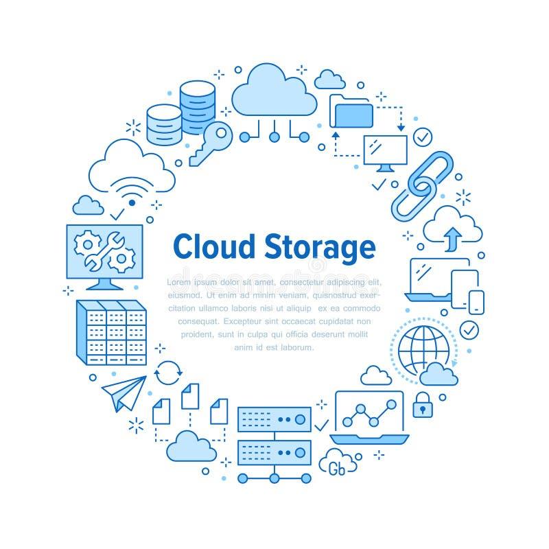 Плакат круга хранения данных облака с линией значками Предпосылка базы данных, информация, центр сервера, глобальная вычислительн иллюстрация штока