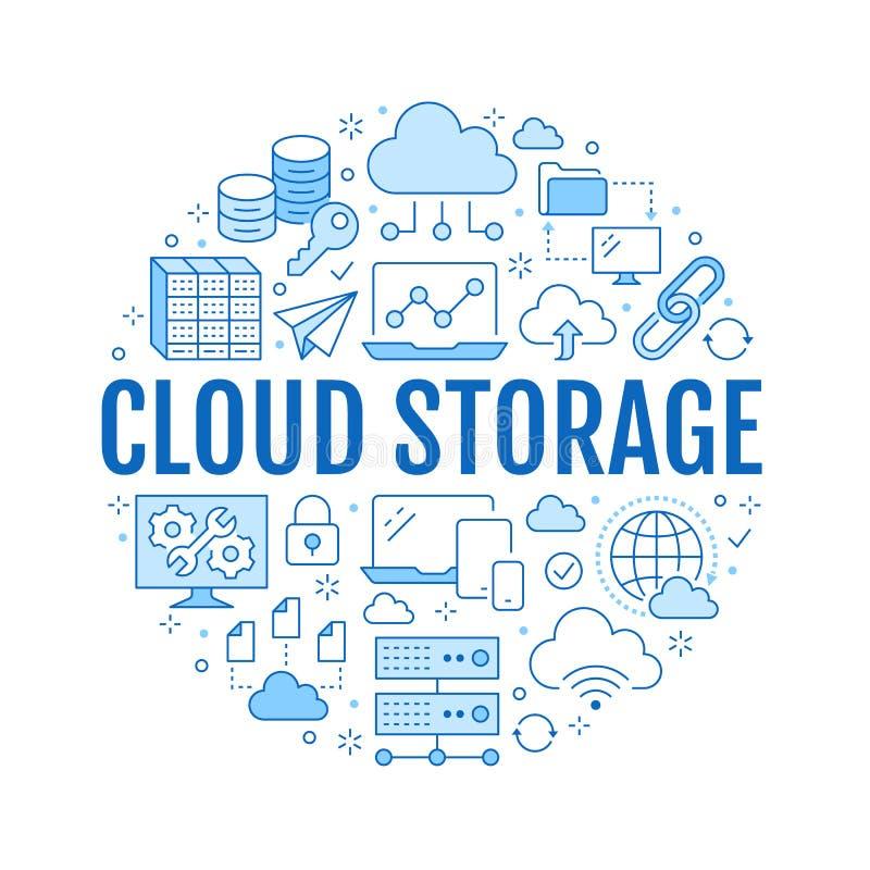 Плакат круга хранения данных облака с линией значками Предпосылка базы данных, информация, центр сервера, глобальная вычислительн бесплатная иллюстрация