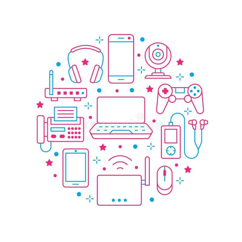 Плакат круга электроники с плоской линией значками Знаки технологии интернет-связи Wifi Смартфон, ноутбук, факс иллюстрация штока