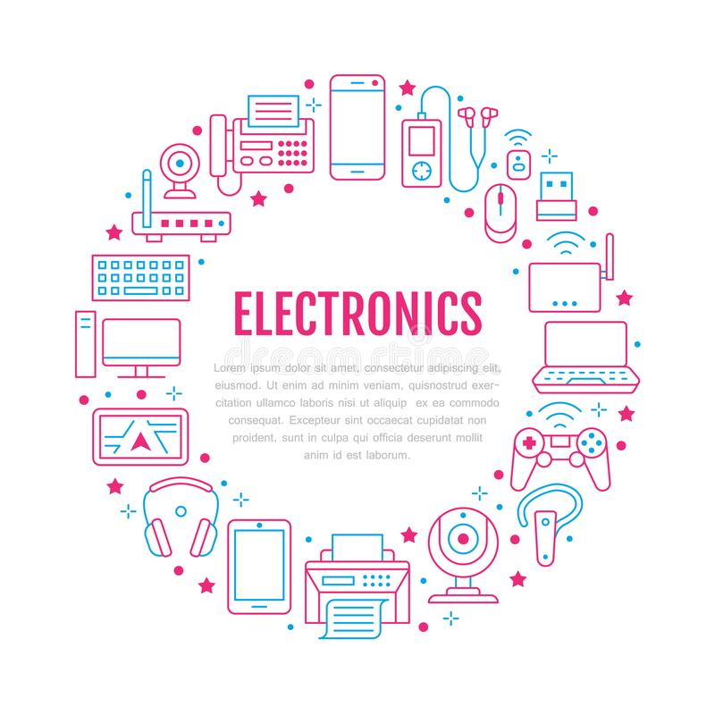 Плакат круга электроники с плоской линией значками Знаки технологии интернет-связи Wifi Компьютер, смартфон, ноутбук иллюстрация штока