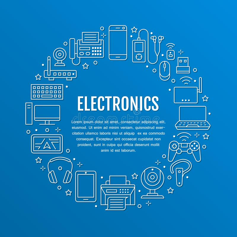 Плакат круга электроники с плоской линией значками Знаки технологии интернет-связи Wifi Компьютер, смартфон, ноутбук бесплатная иллюстрация