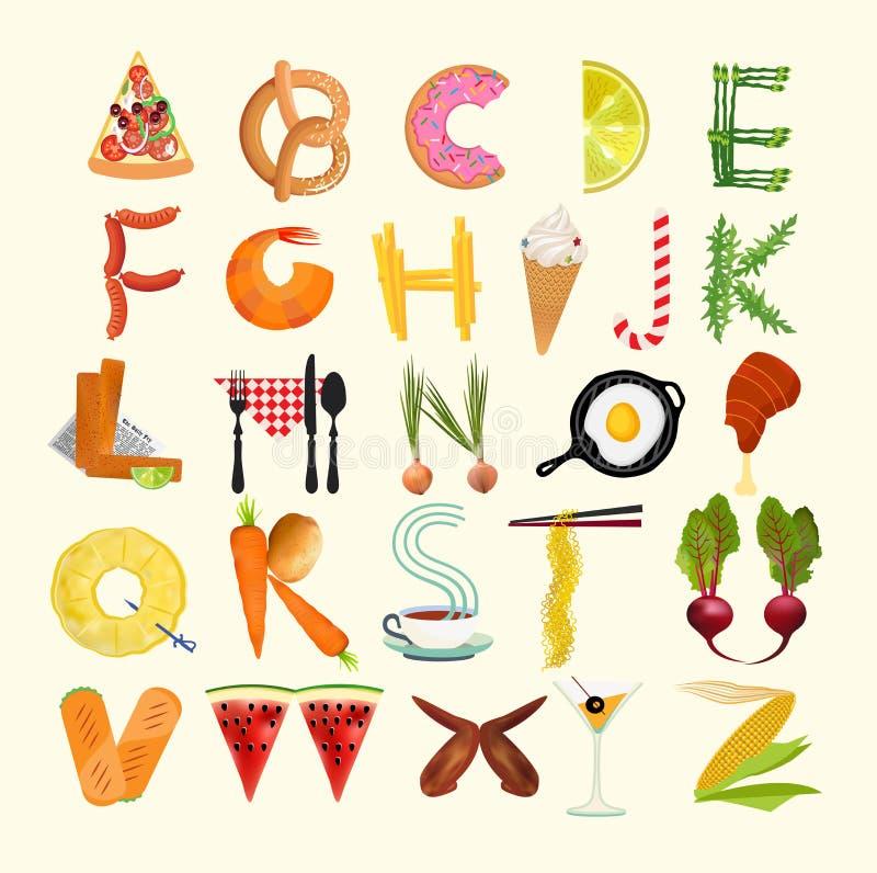 Плакат кухни оформления Алфавит еды также вектор иллюстрации притяжки corel иллюстрация штока