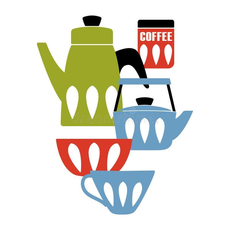 Плакат кухни середины века современный бесплатная иллюстрация