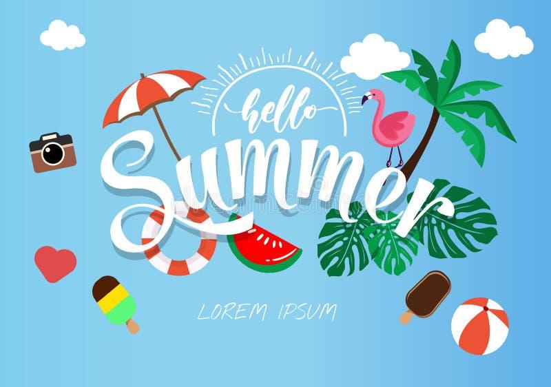 Плакат лета весны, иллюстрация вектора знамени и дизайн для вектора карты плаката, стоковое фото rf