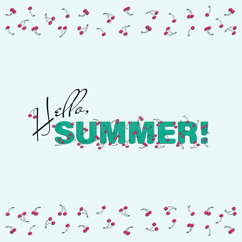 Плакат лета с вишнями Здравствуйте!, лето! иллюстрация штока