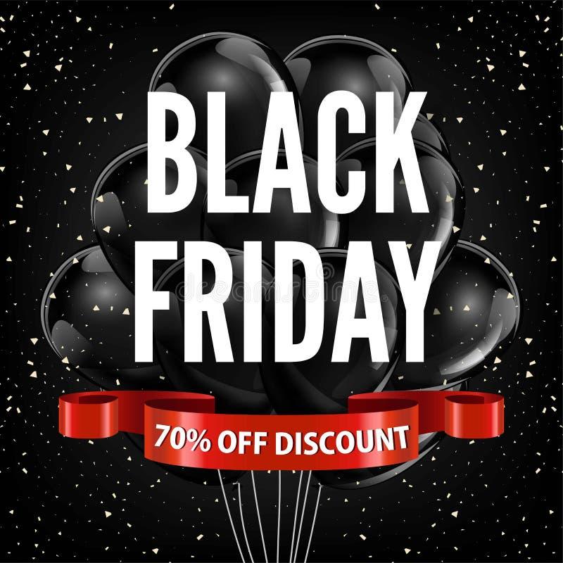 Плакат магазина рекламы вектора ленты черных воздушных шаров promo скидки продажи пятницы красный иллюстрация вектора