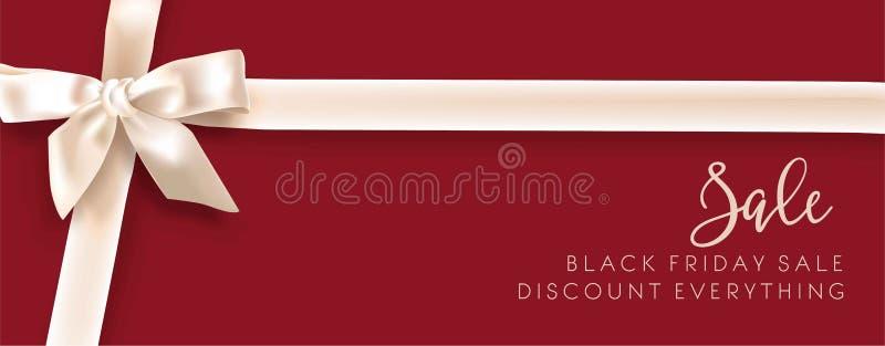 Плакат магазина рекламы вектора смычка promo моды скидки продажи белый иллюстрация вектора