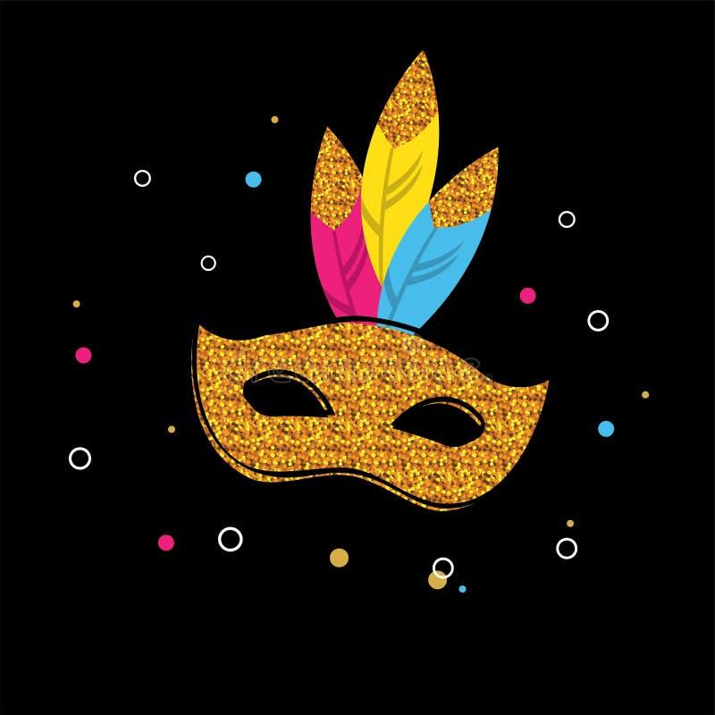 Плакат масленицы с маской яркого блеска Дизайн концепции фестиваля бесплатная иллюстрация