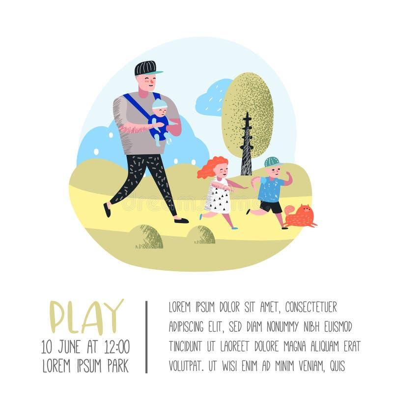 Плакат мероприятий на свежем воздухе семьи, знамя Отец идя в парк с детьми Счастливые люди ослабляя на природе иллюстрация штока
