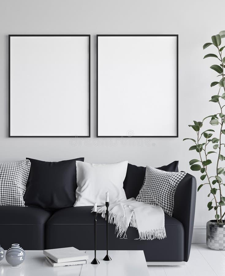 Плакат модель-макета в интерьере живя комнаты, скандинавском стиле бесплатная иллюстрация