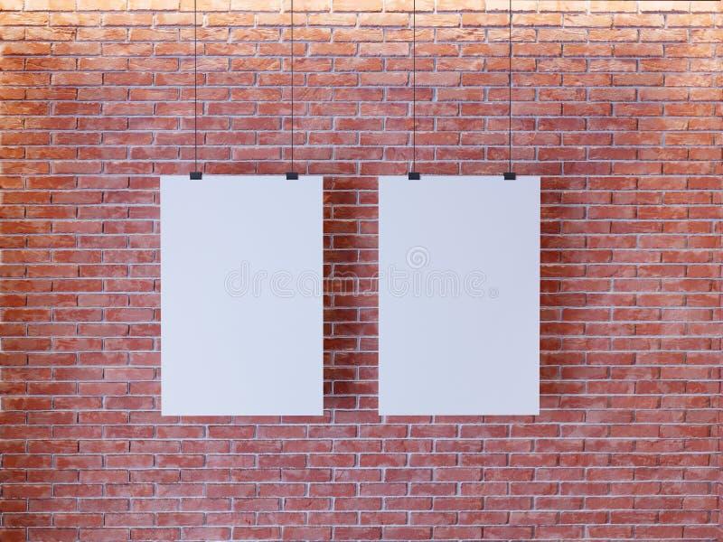 Плакат модель-макета в интерьере стиля стиля Арт Деко 3d представляют Кирпичная стена иллюстрация бесплатная иллюстрация