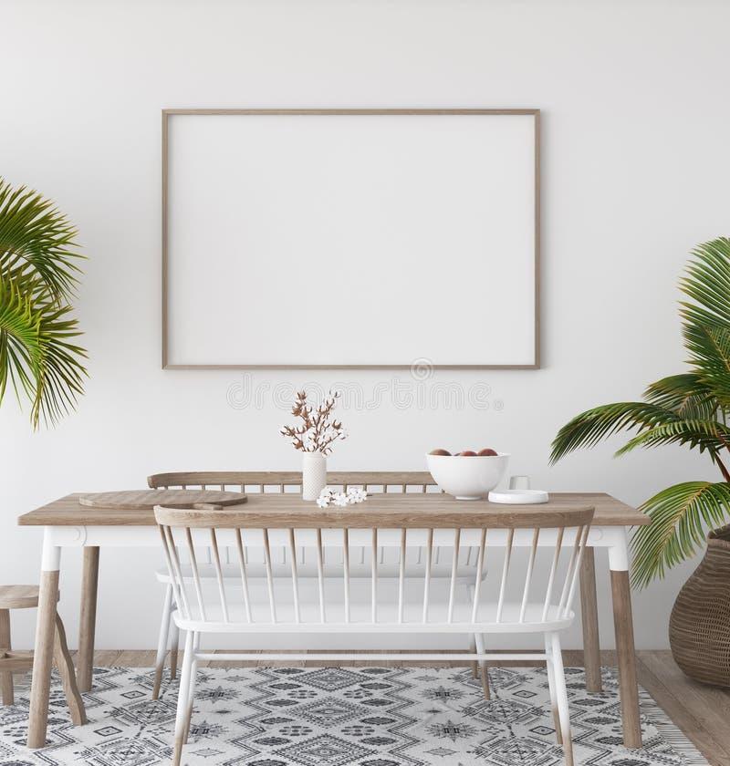 Плакат модель-макета в тропической предпосылке живущей комнаты, стиле Scandi-boho бесплатная иллюстрация
