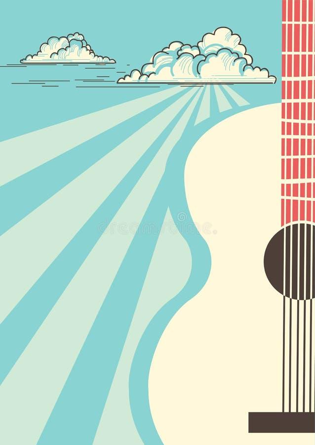 Плакат музыки кантри с гитарой музыкального инструмента акустической Vec иллюстрация вектора