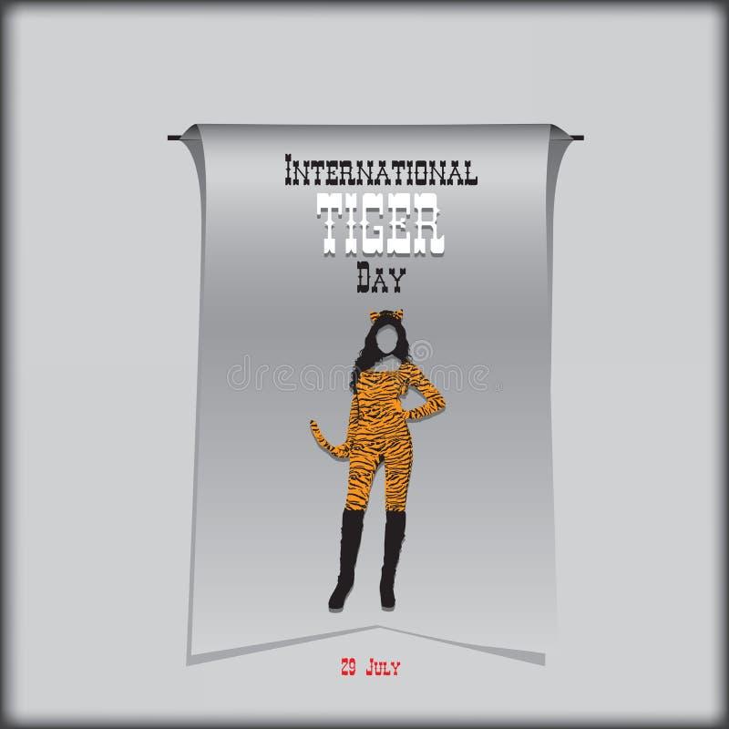 Плакат на день тигра иллюстрация вектора