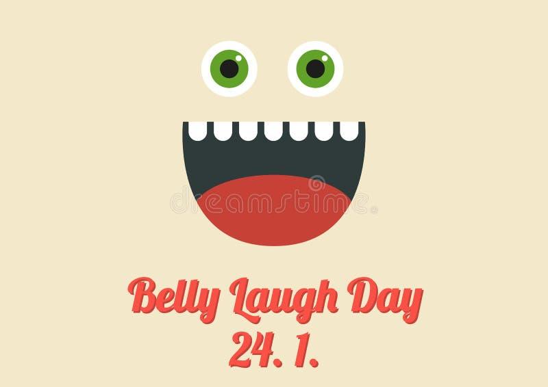 Плакат на международный специальный праздник назвал день смеха живота иллюстрация вектора