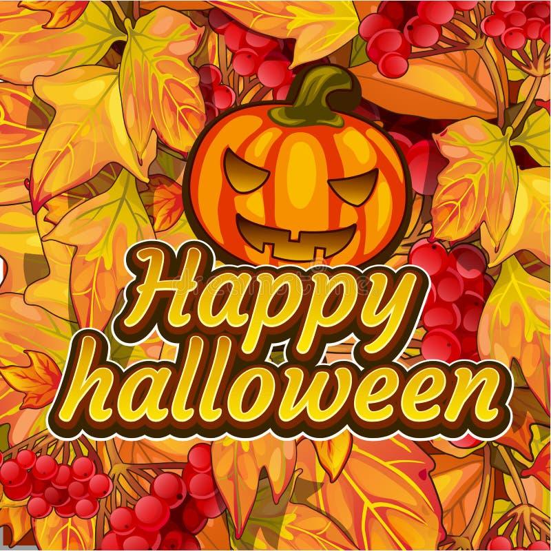 Плакат на теме партии праздника хеллоуина Милая поздравительная открытка на теме золотой осени Богато украшенный фон упаденный иллюстрация штока